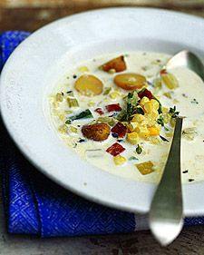 Summer Corn Chowder. Small new potatoes can be substituted for the fingerling potatoes in this recipe.