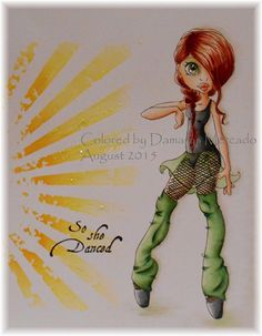 "Design by Saturated Canary - ""Dancer"". Tim Holtz stencil ""Rays"" used for background."