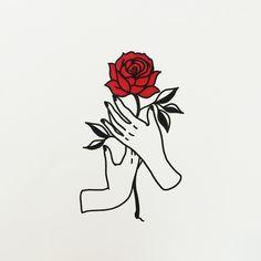 hands holding a rose  doodle outline