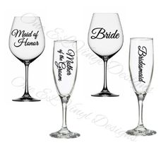 Wedding Party Titles for DIY Glasses - Bridesmaid, Maid of Honour .For Champagne, Wine, Beer glasses, Coffee Mugs . Glass NOT Included Maid Of Honour Gifts, Maid Of Honor, Diy Glasses, Colorful Pictures, Vinyl Decals, Wine Glass, Tea Cups, Coffee Mugs, Champagne