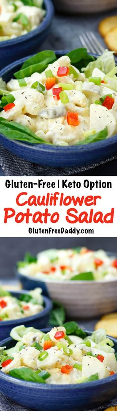 This cauliflower potato salad can either be made with half cauliflower/half potato for a lower carb option or all cauliflower for a Keto option.
