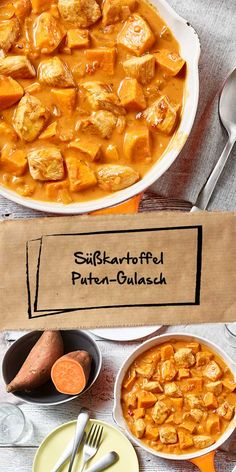 """Süßkartoffel-Puten Gulasch Our sweet potato turkey goulash is a recipe you should try! A seasoning paste from our """"Ideen vom Wochenmarkt"""" range of products gives this dish a particularly aromatic note. Indian Food Recipes, Vegetarian Recipes, Healthy Recipes, Russian Honey Cake, Potato Recipes, Food Inspiration, Us Foods, Sweet Potato, Food Porn"""