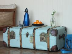 Whether you are looking to create an intimate elegance dining area or a cool retro-inspired space or functional work area we have a Painted Suitcase, Vintage Trunks, Steamer Trunk, Flea Market Finds, Leather Accessories, Storage Chest, Suitcases, Bags, Google Search