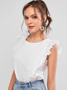 ZAFUL Broderie Anglaise Ruffled Eyelet Casual Blouse  WHITE , #affiliate, #Anglaise, #Ruffled, #ZAFUL, #Broderie, #Blouse #Ad