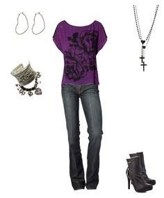 Hip Purple by cloudyeyz on Polyvore featuring polyvore fashion style Jane Norman 7 For All Mankind House of Deréon River Island Fantasy Jewelry Box Betsey Johnson Wildfox clothing cross hearts charms boots jeans purple silver casual