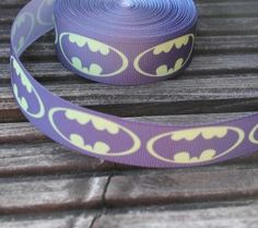 Batman print grosgrain ribbon 22mm wide by scratchycat on Etsy, $1.40