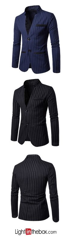Men's Casual/Daily Work Simple Sexy Chinoiserie Spring Fall Striped V Neck Long Sleeve Blazer