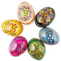 6 Hand Painted Wooden Ukrainian Easter Eggs - Fill your Easter basket with 6 colorful hand painted wooden eggs. Historically, one of the most popular Easter gifts was a hand painted in various patterns Easter egg.