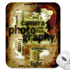 Photography Lingo Text Distressed Design Collage Mouse Pads from Zazzle.com