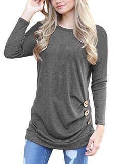 aa0fe04d922eb CICIDES Womens Casual Long Sleeve Round Neck Loose Tunic Top Blouse T Shirt  With Buttons 7Color