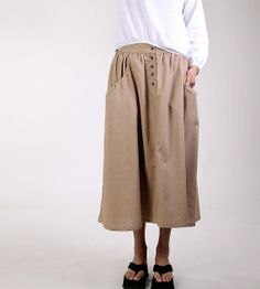 Lagenlook Maxi Skirt Big Pockets Big Sweep Long Skirt(more colour and size choice) on Etsy, $62.00