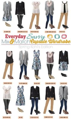 Here a new Kohls Spring Capsule wardrobe. This one works well even if it is a little cooler where you live since we added a sweater and blazer.