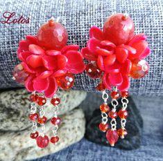 Earrings Fashion trend color Aurorra red  #earrings #LotosJewelryHandmade