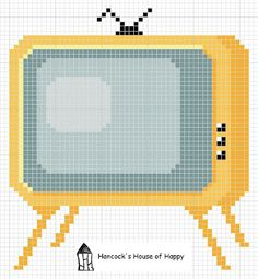 hancock's house of happy: Little Retro TV Motif: Free Cross Stitch Chart Modern Cross Stitch Patterns, Cross Stitch Designs, Maneki Neko, Cross Stitching, Cross Stitch Embroidery, Free Cross Stitch Charts, Free Charts, Cross Stitch Boards, Crochet Cross