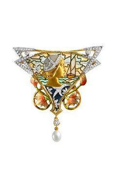 Masriera Brooch - Gold, enamel, diamonds and pearl.
