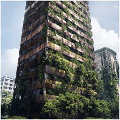 This is a good example of how to add vegetation to a skyscraper. It might end up being too small of an image for much detail but you can be the judge of that.