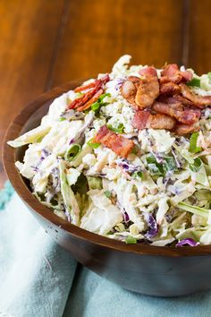 Blue Cheese Bacon Coleslaw is crunchy and creamy and goes great with grilled meat or is a delicious topping for burgers and hot dogs. Great as base for bunless blue cheese bacon burgers. Pork Rib Recipes, Hot Dog Recipes, Side Dish Recipes, Side Dishes, Sweet And Sour Cabbage, Cabbage And Bacon, Cabbage Salad, Blue Cheese Coleslaw, Vinegar Coleslaw