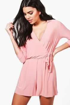 8c6b329cc4 (eBay link) Boohoo Lola Skinny Wrap Over Tie Waist Playsuit Coral Pink Size  14