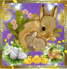 Hare and her baby. - Hare and her baby. Hare and her baby. Easter Pictures, Flower Pictures, Happy Easter Gif, Just Magic, Easter Wishes, Easter Greeting Cards, Glitter Graphics, Kawaii Art, Vintage Easter