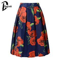 DayLook Summer Floral Print Vintage Pleated Skater Midi Skirt High Waist Ball Gown Elegant Skirt
