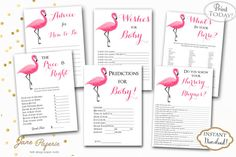 Every baby shower needs fun activities. This pack includes 6 fun games for your guests and you to play. You can keep the printables as a keepsake and share them with your baby when he/she gets older. Instant Download Pink Flaming Printable Baby Shower Games Pack. These are perfect for tropical or summer baby shower. Find more coordinating printables at JanePaperie: https://www.etsy.com/shop/JanePaperie