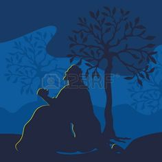 crucifixion of jesus: Illustration of Jesus praying in Gethsemane on the eve of the crucifixion