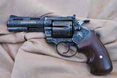 """twippyfan: """"Engraved and Gold Inlayed Colt Diamondback .357 mag """""""