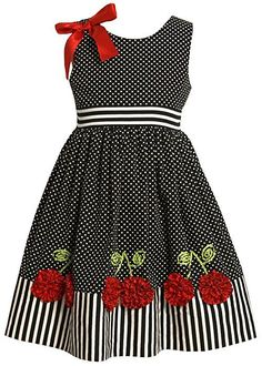 Bonnie Jean Little Girls' Dress with Dots and Stripes, Black/White, 5 – roupas de princesas Little Dresses, Little Girl Dresses, Cute Dresses, Girls Dresses, Summer Dresses, Little Girl Fashion, Fashion Kids, Women's Fashion, Toddler Dress