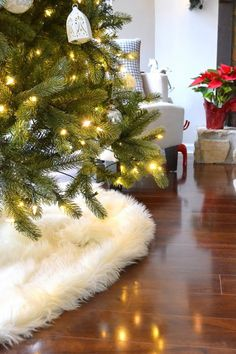The beauty of fur decor is that they hide edges easily. Learn how to make this faux sheepskin tree skirt for less than $10 and without sewing a thing!