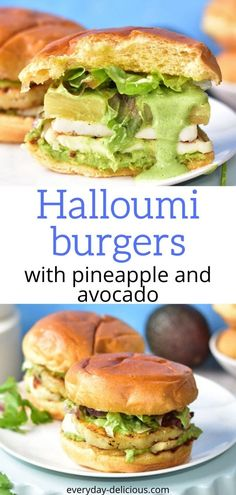 Quick and easy grilled halloumi burgers with pineapple, smashed avocado and coriander and lime sauce. Delicious vegetarian burgers. #halloumiburgers #halloumi #vegetarianburgers Vegetarian Burgers, Gluten Free Vegetarian Recipes, Vegetarian Dinners, Vegan Halloumi, Grilled Halloumi, Avocado Burger, How To Cook Burgers, Smashed Avocado, Delicious Dinner Recipes