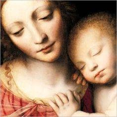 Detalhe de Madonna ea criança de sono (1532) pelo pintor italiano do renascimento, Bernardino Luini