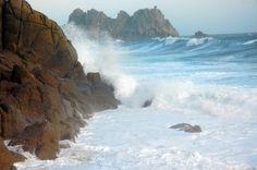 Porthcurno Sea State. Rough, Cornwall Coast.
