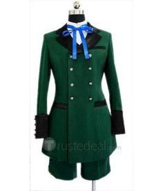 Kuroshitsuji Black Butler Ciel Phantomhive Green Cosplay Costume.