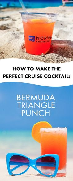 Want to savor the island flavor? This delicious recipe for Bermuda Triangle Punch is the perfect cruise cocktail to ma . Bar Drinks, Cocktail Drinks, Cocktail Recipes, Alcoholic Drinks, Beverages, Tequila Drinks, Cocktails To Make At Home, Summer Cocktails, Classic Cocktails