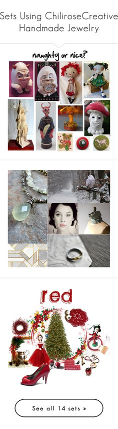 """Sets Using ChiliroseCreative Handmade Jewelry"" by chilirose-creative ❤ liked on Polyvore featuring art, naughtyornice, interior, interiors, interior design, home, home decor, interior decorating, Christmas and etsy"