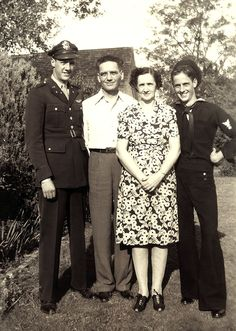 The proud parents with sons Maurice and Bill Paschall, 1945, Bridgeport, Texas