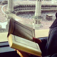 Reading Quran at Safwa Tower, Looking Onto Masjid al-Haram