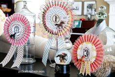 Win, Place & Show Ribbons-Make with Christmas cards? Maybe prizes for cookies or something?