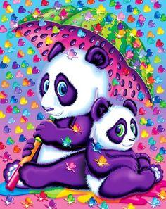 Rainy Day Pandas - Art by Lisa Frank Panda Bear Crafts, Panda Craft, Cute Panda Baby, Panda Decorations, Lisa Frank Stickers, Gata Marie, Mosaic Animals, Cross Paintings, Cross Stitch