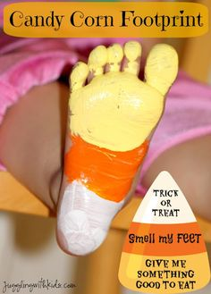 "Fun Halloween decor to do with the kids ""smelly"" feet.  Candy Corn footprints make an adorable keepsake.  Jugglingwithkids.com"