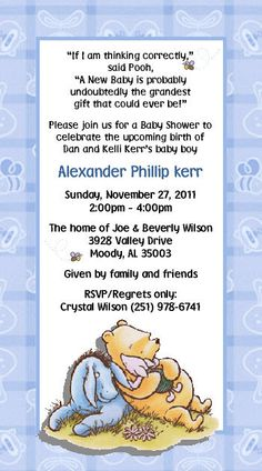Classic Pooh Baby Shower Invitations | Classic Winnie the Pooh Invitations by DesignsbySuzan on Etsy