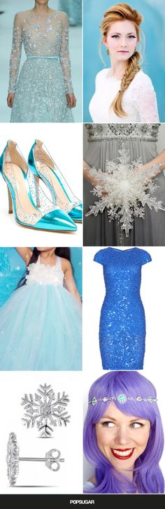 Frozen wedding fashion inspiration for brides and bridesmaids.