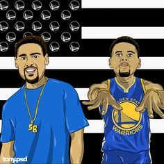 """Splash Brothers """"Splashonia"""" cover art  inspired by Outkast's classic album  """"Stankonia"""" featuring the Warriors Klay Thompson and Stephen Curry. Vector artwork by Tony.psd"""