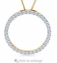 Ziamond best quality cubic zirconia circle of love eternity pendant in 14k yellow gold.  The Large Circle of Love Pendant features original Russian formula cz set in a top quality solid gold or platinum mounting. #ziamond #cubic zirconia #eternity #circle #pendant #14k gold #best quality