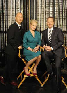 """2012 NBC Upfront Presentation"" Presentation to Advertisers -- Pictured: (l-r) Ryan Murphy, Ellen Barkin ""The New Normal""; Bob Greenblatt, Chairman, NBC Entertainment -- (Photo by: Virginia Sherwood/NBC)   #NewNormal"
