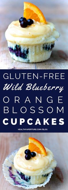 Blueberry-Orange Blossom Honey Cupcakes Celebrate your next birthday with this recipe for Wild Blueberry Orange Blossom Honey Cupcakes for dessert!Celebrate your next birthday with this recipe for Wild Blueberry Orange Blossom Honey Cupcakes for dessert! Gluten Free Deserts, Gluten Free Treats, Foods With Gluten, Gluten Free Baking, Sans Gluten, Honey Cupcakes, Healthy Cupcakes, Gluten Free Cupcakes, Blueberry Cupcakes