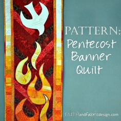 The powerful images of Pentecost - the Holy Spirit coming down to the disciples, touching them as the stood watch, giving them the abilities they needed to go forth in their mission - are captured in this ultra unique quilt design. The bold red background pops against the white, and the gradual fading of color in the tongues of fire from deep red, to orange, to yellow mimics the heat of burning flames. The dove appears to dive above the burning flames, and the border plays off the colors in…
