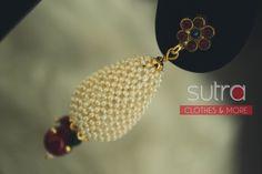 Simple & cute -tiny pearls weaved together onto a teardrop shape  http://on.fb.me/RLASNo