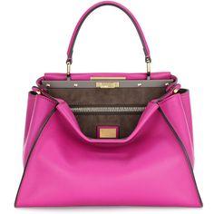 Fendi Medium Peekaboo Tote Bag (€3.770) ❤ liked on Polyvore featuring bags, handbags, tote bags, fendi, magenta, fendi purses, fendi tote, fendi tote bag and fendi handbags