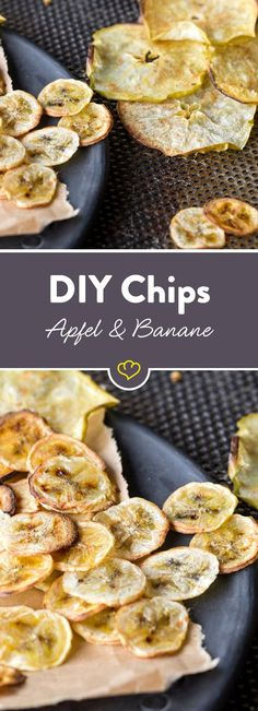 Selbstgemachte Apfel- und Bananenchips It does not always have to be salty: these homemade apple and banana chips ensure a fruity, sweet variety. Easy Snacks, Healthy Snacks, Fruit Recipes, Snack Recipes, Law Carb, Low Carb Chips, Sweet Potato Toast, Banana Chips, Breakfast Dessert